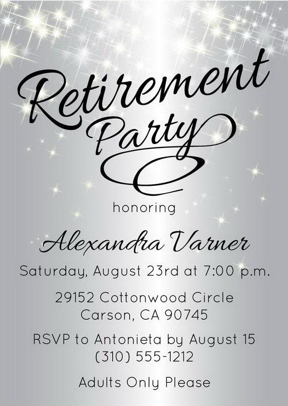 Good Silver Retirement Party Invitation | Elegant Retirement Invitation |  Sparkly Invitations | Customized Invite