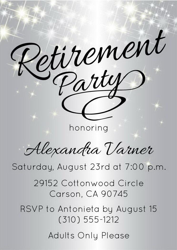 silver retirement party invitation retirement party invite