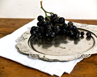silver tray / tarnished  / Art Nouveau serving tray / christmas