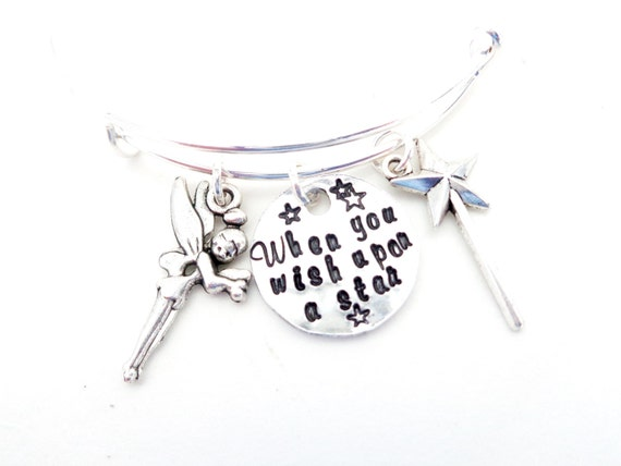 When You Wish Upon a Star, Inspirational Quote Bracelet, Fairy and Wand Bangle Bracelet, Customizable