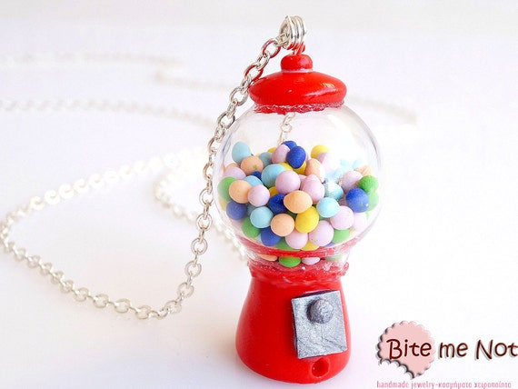 Bubble Gum Machine Necklace, Miniature Food, Gum-ball Machine, Polymer clay Sweets, Mini Food Jewelry, Glass Globe Necklace, Terrarium