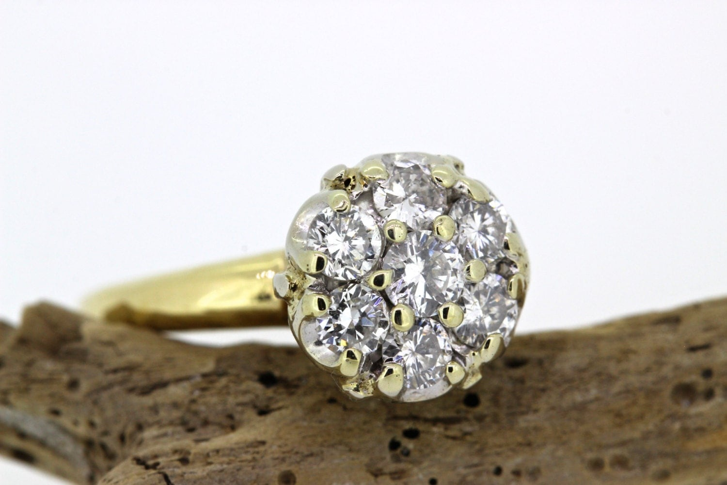 Vintage engagement ring diamond cluster ring 14k yellow for Cluster wedding rings