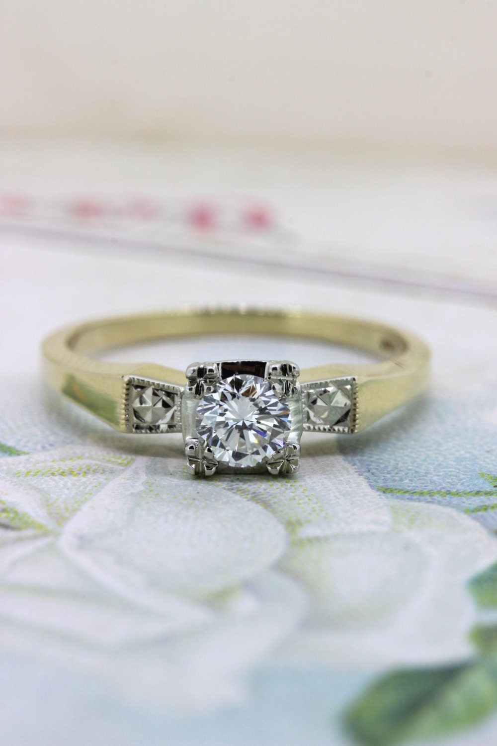 1940s vintage engagement ring dainty by fergusonsfinejewelry