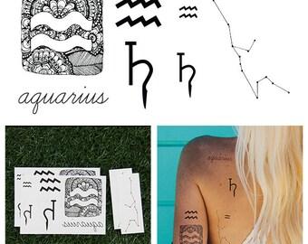 Aquarius - Temporary Tattoo (Set of 14)