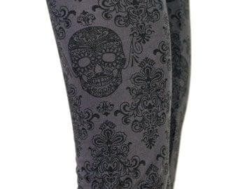 SALE! Gray and Black Day of the Dead Skull Print Leggings