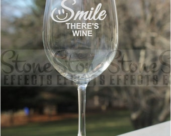 Etched Wine Glasses, 12oz, smile,  Wine Glasses,  wine glass, etched wine glass, wine glass, etched