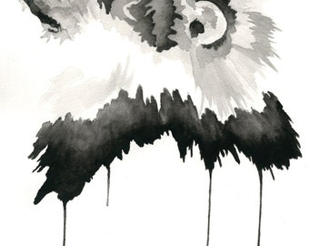 Lion Watercolor Contemporary Painting Black and White Print