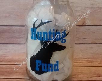 Mason Jar Bank, Money Bank, Piggy Bank, Savings Jar, Hunting Fund