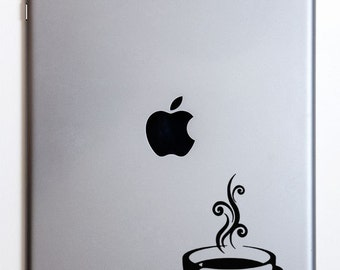 Steaming Coffee Cup and Saucer iPad Decal
