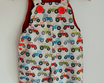 The 'Fun Tractor' Dungaree/Romper/Overall -- Baby Toddler Size 12month ***READY TO SHIP****
