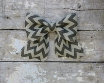 Chevron Bow for Wreath, Chevron Burlap Bow, Wreath Bow, Dark Gray and White