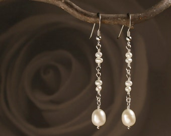 Pearl Earrings in Sterling Silver - Dangle & Drop Pearl Earrings with Natural Freshwater Pearls - 00137S - by allotria - MADE TO ORDER