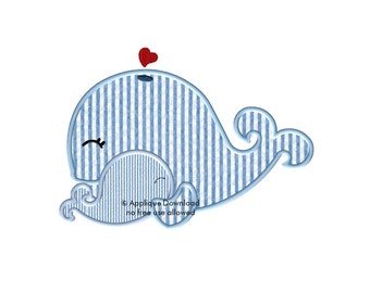 Two Cute Whales Embroidery Applique - Instant EMAIL With Download - for Embroidery Machines