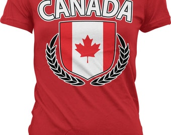 Canada Flag Crest With Olive Branches Ladies T-shirt, Canada Flag, Canadian Flag, Junior and Women's Canada T-shirts GH_00206
