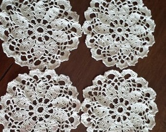 CROCHETED LACE COASTERS Doilies Set of 4
