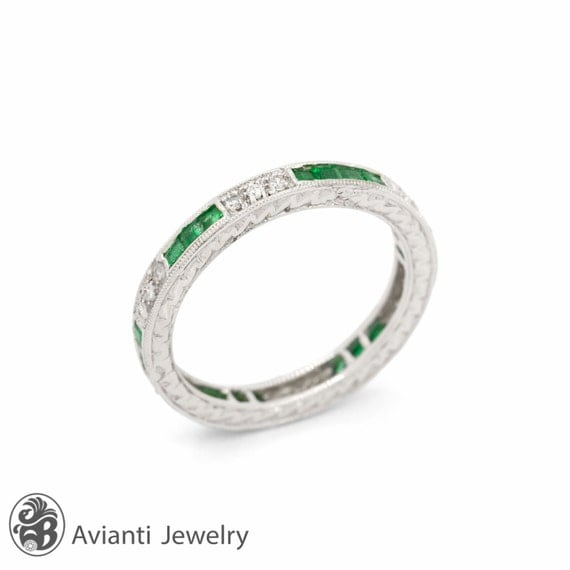 mothers ring emerald stackable ring may by aviantijewelry