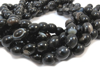Black Agate Beads, 15 inch Strand, 12x12 to 15x12mm Oval Beads, Beading Supplies, Item 466ag