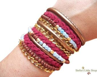 Boho Bracelet, Wrap Bracelet, Beaded Bracelet, Leather Bracelet, Braided Bracelet, Triple Wrap, Gift