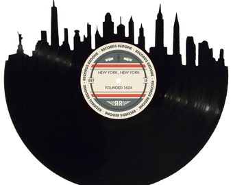 New York City Skyline Records Redone Label Vinyl Record Art - Unique Gift - Birthday Holiday Christmas Wedding