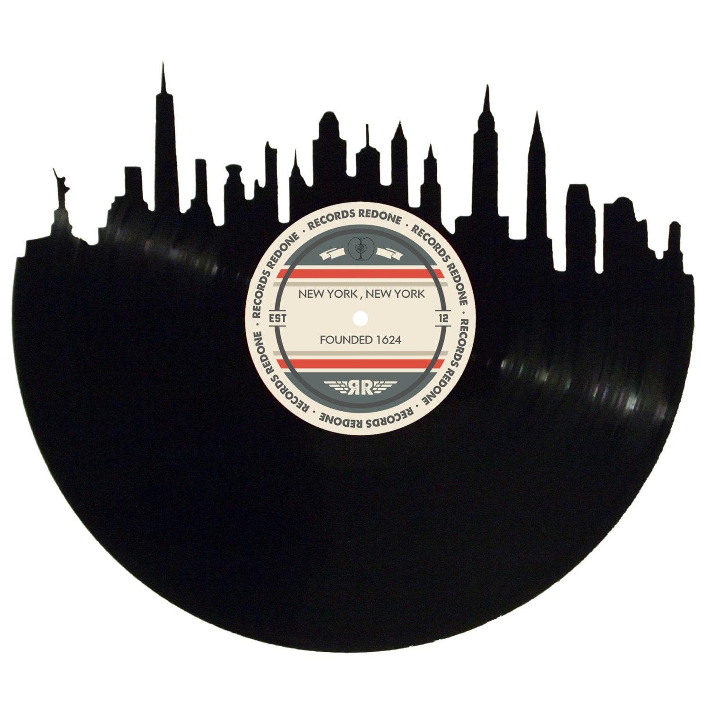 New York City Skyline Records Redone Label Vinyl Record Art