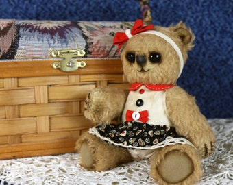 April. Artist mohair teddy bear in a dress. Dressed Teddy Bear