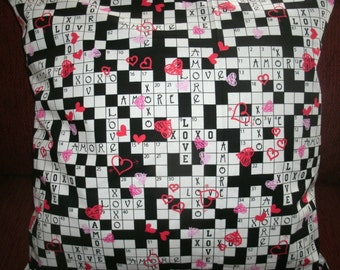 Free Shipping! Decorative Pillow Covers, Valentine Sofa Pillow Covers, Crossword, Holiday Pillow Covers, Accent Pillow Covers, Set of 2