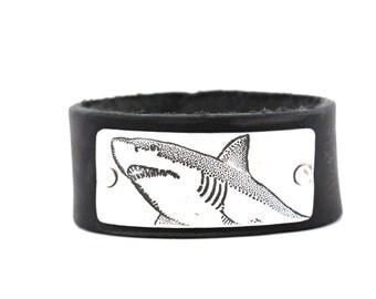 Shark Bracelet, Leather Cuff Bracelet, Leather Bracelet, Shark Tooth Bracelet, Great White Shark. Discovery Channel, Shark Week