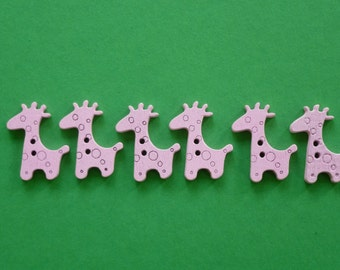 Pink wooden buttons with girafe design.    Set of 10