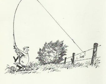Angling Fishing Resistance Angler cartoon print 1968 book print by Thelwell Wall Art Home Decor Vintage Print Humorous print