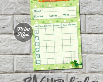 St Patricks Day Bunco score card, Instant download, Buy 2 Get 1 FREE