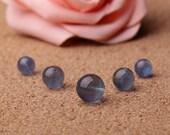 8mm-12mm 10pcs Natural Blue Fluorite Beads, Smooth Round (GU80)