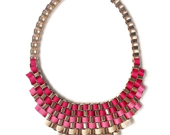 Pink statement necklace, pink ombre necklace, pink bib necklace