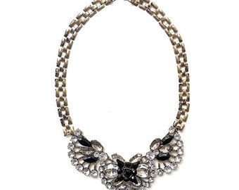 Black statement necklace, rhinestones statement necklace