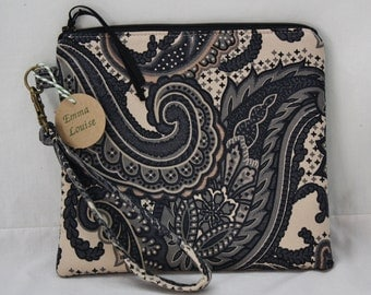 SALE-Stylish Wristlet with Detachable Strap in Black Blue and Taupe Paisley Print