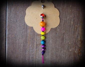 gemstone BELLY RING, belly button jewelry, rainbow, chakra jewelry, tassel belly ring dangle, unique belly ring, long belly button ring