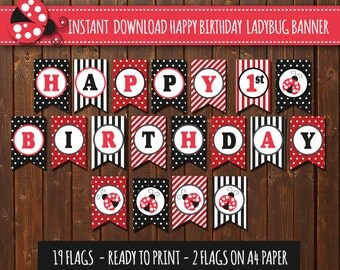 Ladybug Birthday Banner lady bug Birthday banner Happy Banner Banner 1 year 1st birthday party decorations Red DIY Printable PDF File