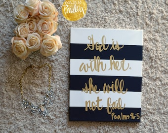 Hand Lettering Bible Verse Canvas Painting Wall Hanging Sign Black & White Striped Gold Wall Art Wall Decor Girl Nursery Art God is With Her