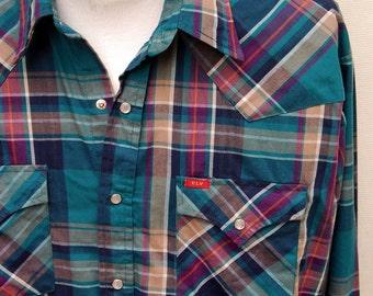 Vtg Ely Plains Teal Plaid Western Shirt 80s Mens Cowboy Pearl Snap Purple 17 34 35 XL Long Sleeve