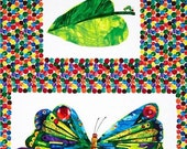 Very Hungry Caterpillar Butterfly Fabric Transformation Panel Cotton Eric Carle