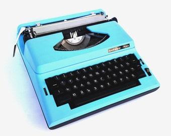 Typewriter Hebros 300 vintage electric typewriter soviet aqua blue typewriter mid century typewriter working copywiter unused typewriter