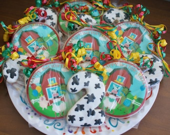 Custom Personalized Old McDonald Barnyard Birthday Party Favors Cookies