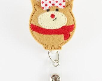 Christmas Reindeer - Felt Badge Reel - Nurse Badge Holder - RN Badge Reel - Retractable ID Badge - Cute Badge Reels - Peds Badge Clip