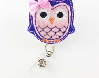 Owl - Felt Badge Reel - RN Badge Reel - Retractable ID Badge Holder - Name Badge Clip - Cute Badge Reels - Nurse Badge Holder - Pediatric