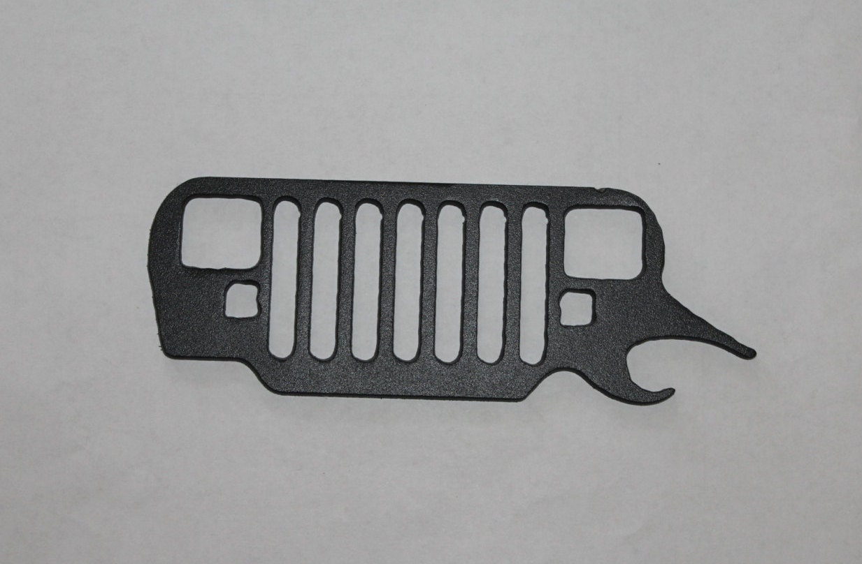 jeep headlights bottle opener metal art flat black. Black Bedroom Furniture Sets. Home Design Ideas