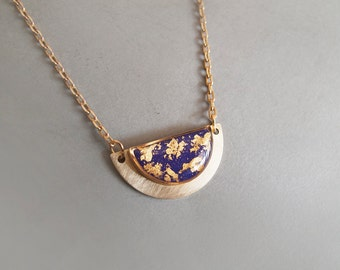 Violet Gold Geometric Necklace - Gift for Her