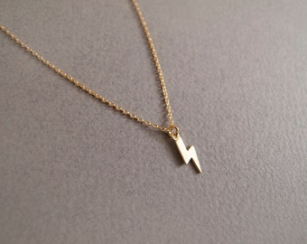 Gold Lightening Necklace - Geometric Jewelry - Everyday Jewelry