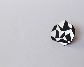 Black&Silver Geometric Diamond Shape Lasercut Ring