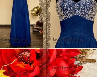 Luxury Long Prom Dress with Beading on Strapless Sweetheart Neckline featuring Folded Waistline | Floor Length Chiffon Bridesmaids Dresses