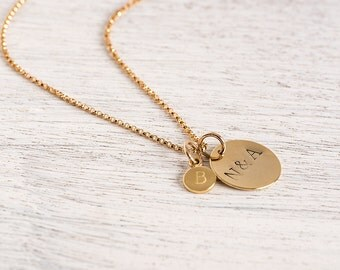 Mother's Day , Gifts for mom , Personalized initial Gold Necklace , family necklace
