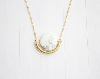 White Howlite & Brass Tube Dangle Semi Circle Necklace
